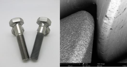 Left – uncoated and PTFE CoBlast coated titanium bolts; Right – scanning electron microscope image of uncoated (right) and coated (left) thread profile